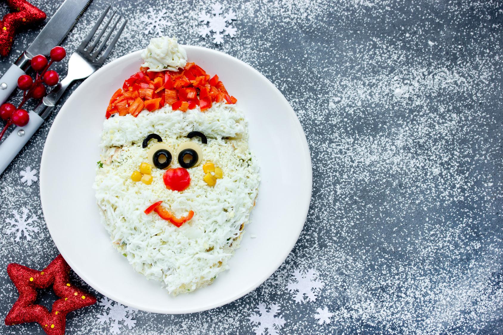 Christmas Santa Claus face salad for holiday dinner , Christmas food art idea